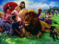 Jesus with children with Lion and the lamb